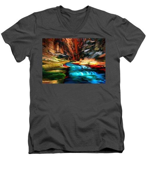Canyon Waterfall Impressions Men's V-Neck T-Shirt by Bob and Nadine Johnston