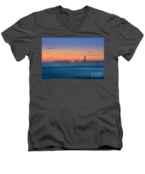 Cape May Lighthouse Sunset Men's V-Neck T-Shirt by Michael Ver Sprill