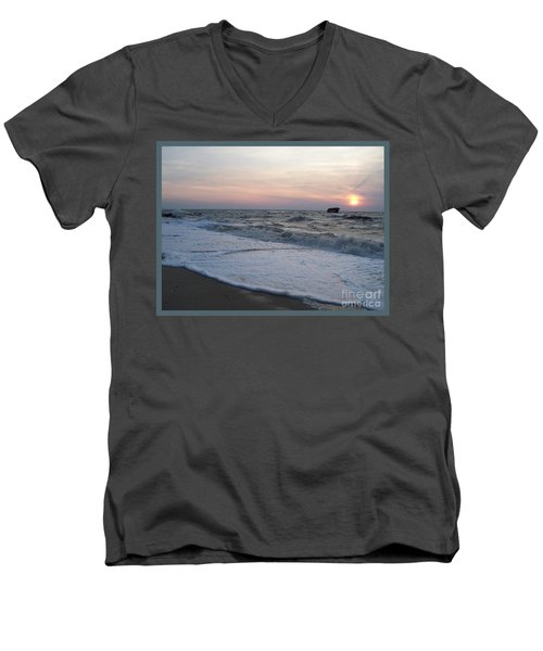 Cape May Sunset Beach Nj Men's V-Neck T-Shirt by Eric  Schiabor