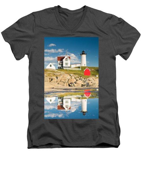 Cape Neddick Light  Reflections Men's V-Neck T-Shirt