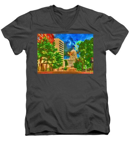 Capital - Jefferson City Missouri - Painting Men's V-Neck T-Shirt by Liane Wright