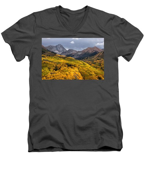 Capitol Peak In Snowmass Colorado Men's V-Neck T-Shirt