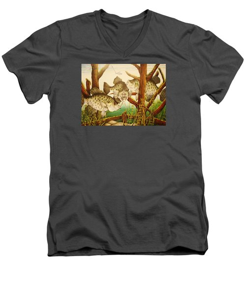 Men's V-Neck T-Shirt featuring the drawing Captivating Crappies by Bruce Bley