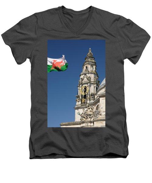 Cardiff City Hall Men's V-Neck T-Shirt by Jeremy Voisey