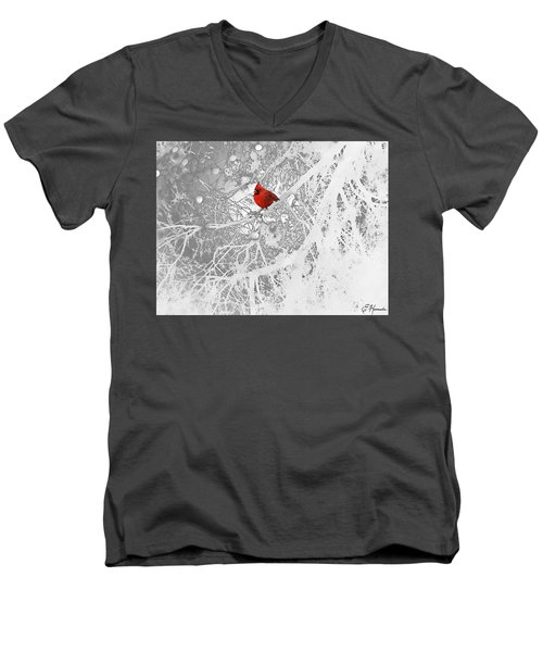 Cardinal In Winter Men's V-Neck T-Shirt by Ellen Henneke