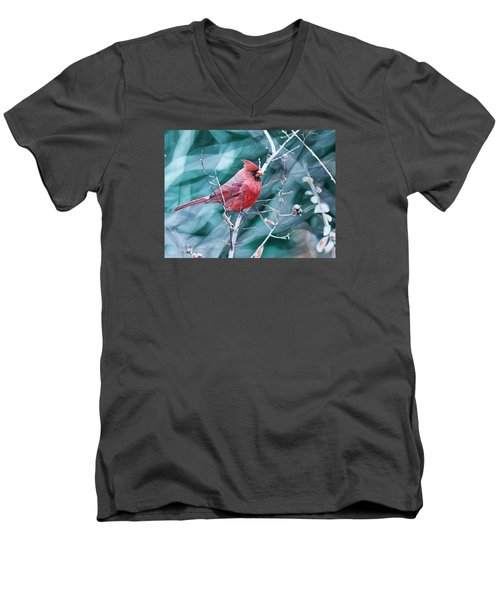 Men's V-Neck T-Shirt featuring the painting Cardinal In Winter by Joshua Martin