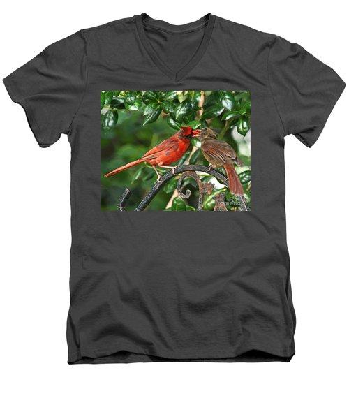Men's V-Neck T-Shirt featuring the photograph Cardinal Bird Valentines Love  by Luana K Perez