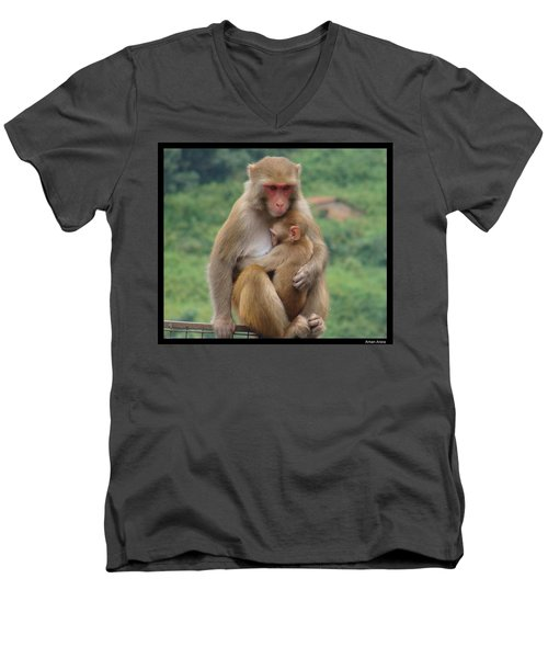 Men's V-Neck T-Shirt featuring the photograph Care by Bliss Of Art