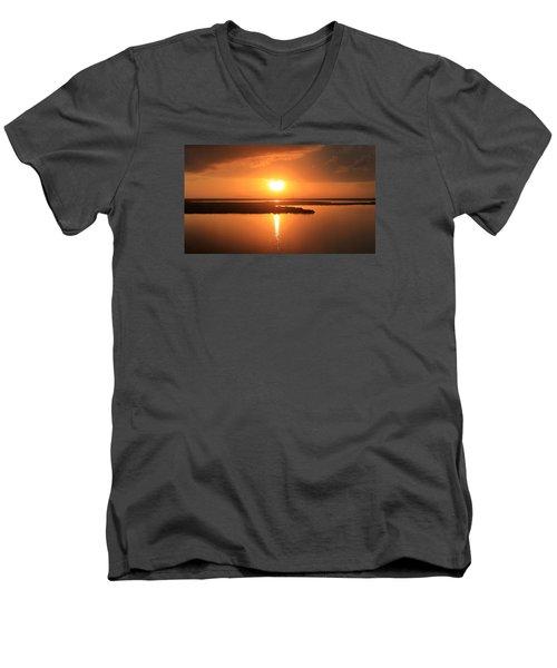 Caribbean Sunset Men's V-Neck T-Shirt by Milena Ilieva