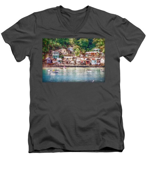 Men's V-Neck T-Shirt featuring the photograph Caribbean Village by Hanny Heim