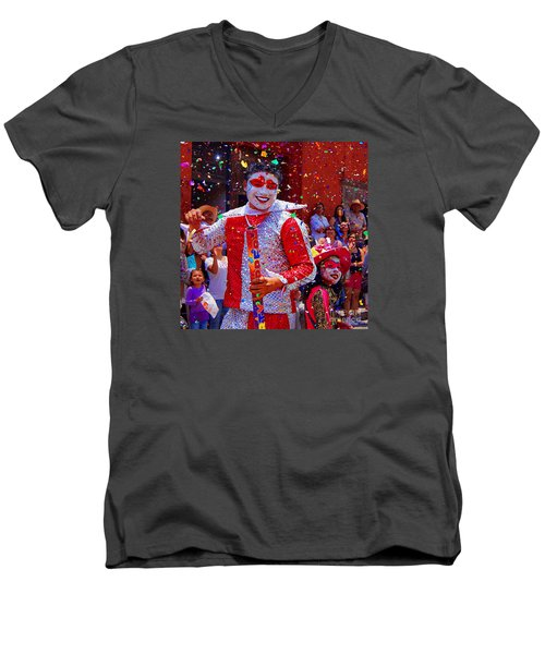 Carnival Man At The Day Of The Crazies Parade Men's V-Neck T-Shirt by John  Kolenberg