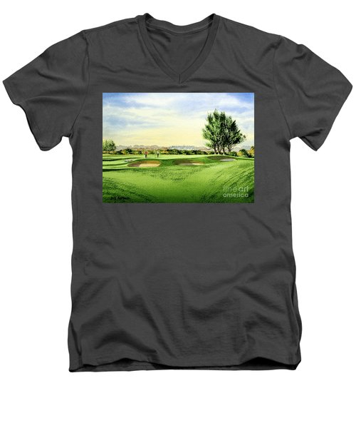 Men's V-Neck T-Shirt featuring the painting Carnoustie Golf Course 13th Green by Bill Holkham