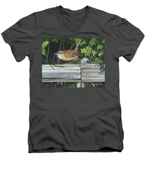 Men's V-Neck T-Shirt featuring the painting Carolina Wren by Mike Brown