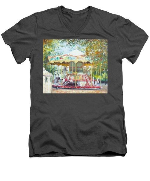 Carousel In Montmartre Paris Men's V-Neck T-Shirt