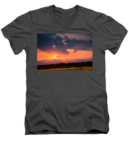 Men's V-Neck T-Shirt featuring the photograph Carpathian Sunset by Mihai Andritoiu