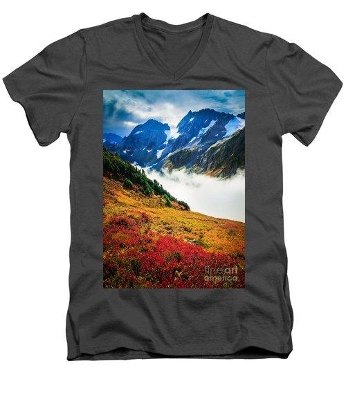 Cascade Pass Peaks Men's V-Neck T-Shirt by Inge Johnsson