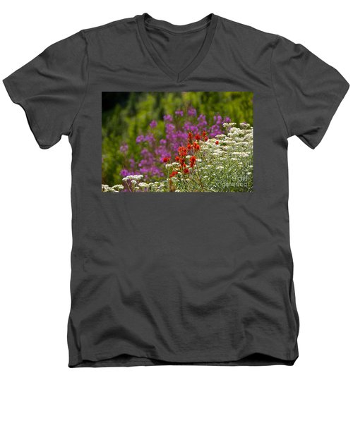 Men's V-Neck T-Shirt featuring the photograph Cascade Wildflowers by Sean Griffin
