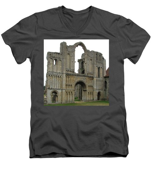 Men's V-Neck T-Shirt featuring the photograph Castle Acre Abbey by Stephanie Grant