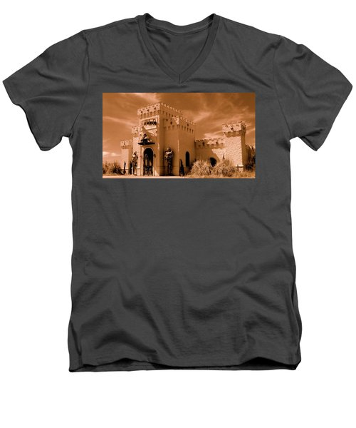 Men's V-Neck T-Shirt featuring the photograph Castle By The Road by Rodney Lee Williams