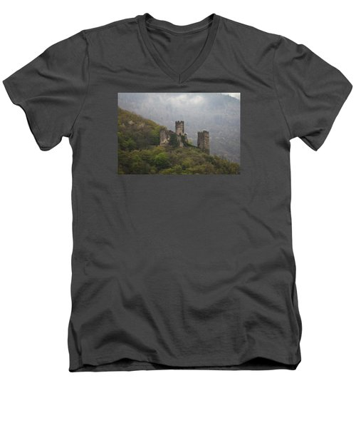 Castle In The Mountains. Men's V-Neck T-Shirt by Clare Bambers