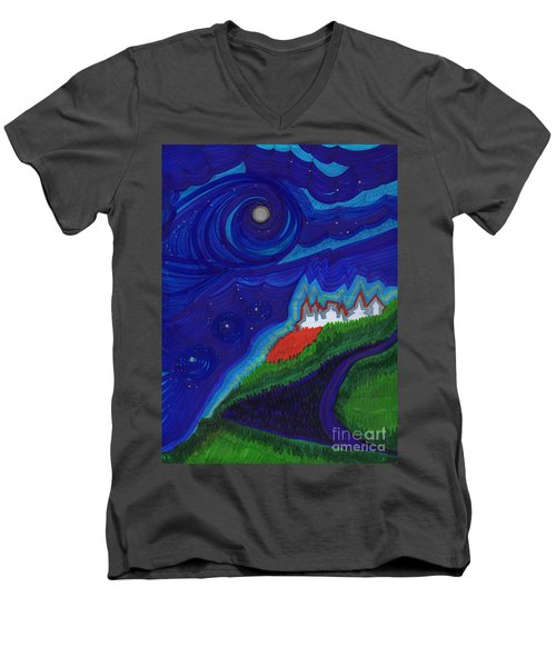 Castle On The Cliff By Jrr Men's V-Neck T-Shirt