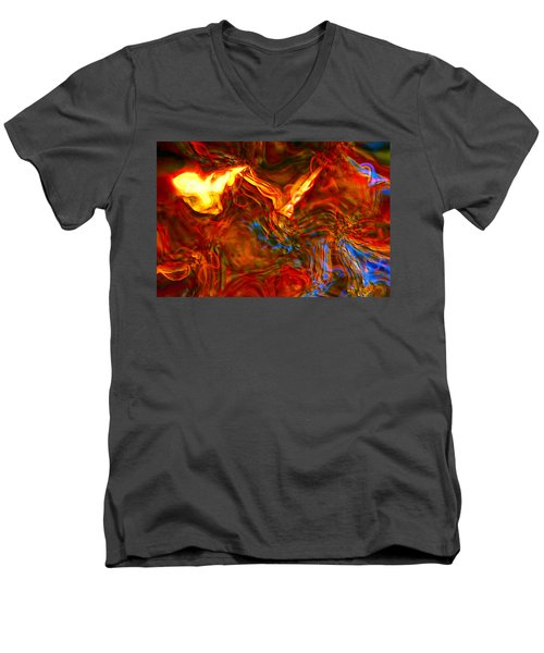 Men's V-Neck T-Shirt featuring the digital art Cat And Caduceus In The Matmos by Richard Thomas