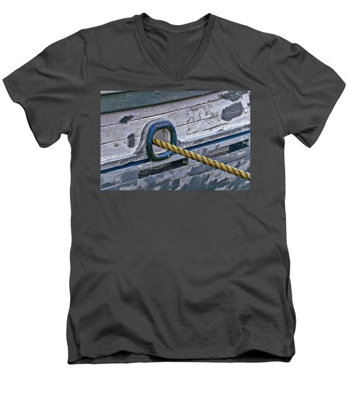 Men's V-Neck T-Shirt featuring the photograph Cat Hole And Hawser by Marty Saccone