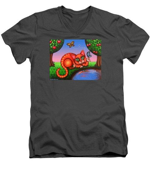 Cat In Reflection Men's V-Neck T-Shirt