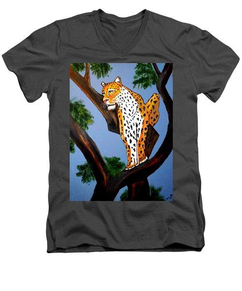 Cat On A Hot Wood Tree Men's V-Neck T-Shirt