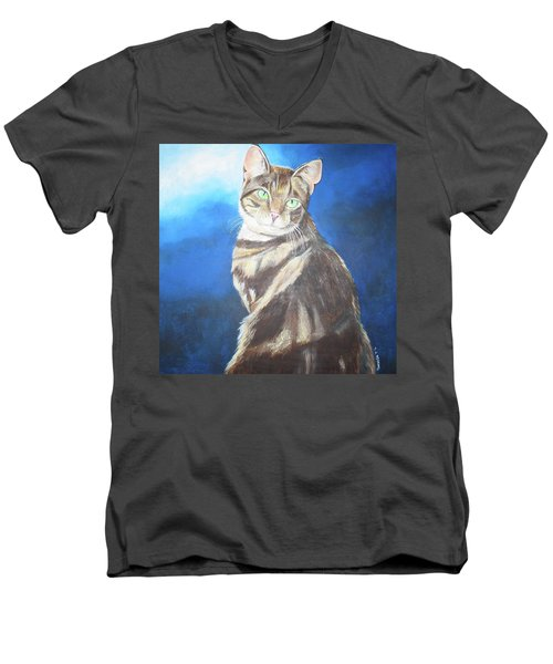 Men's V-Neck T-Shirt featuring the painting Cat Profile by Thomas J Herring