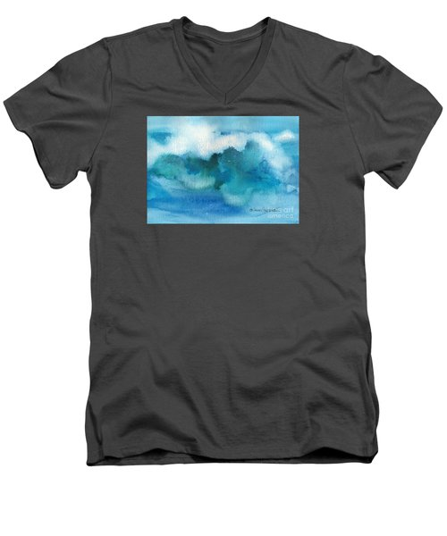 Men's V-Neck T-Shirt featuring the painting Catch The Wave by Joan Hartenstein