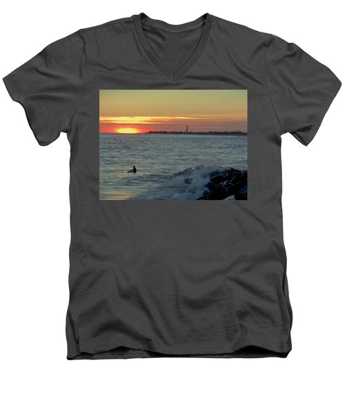 Catching A Wave At Sunset Men's V-Neck T-Shirt by Ed Sweeney
