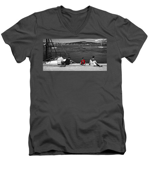 Catching Crabs In Red Men's V-Neck T-Shirt by Meirion Matthias