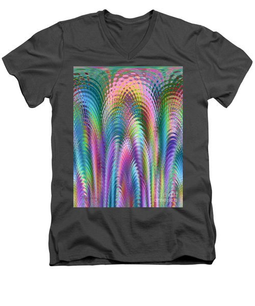 Men's V-Neck T-Shirt featuring the digital art Cathedral by Mariarosa Rockefeller