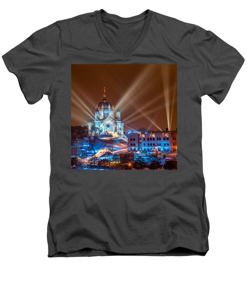 Cathedral Of St Paul Ready For Red Bull Crashed Ice Men's V-Neck T-Shirt by Paul Freidlund