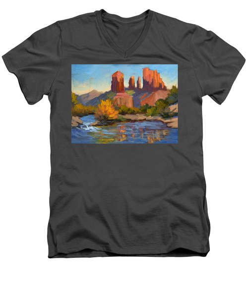 Cathedral Rock 2 Men's V-Neck T-Shirt by Diane McClary