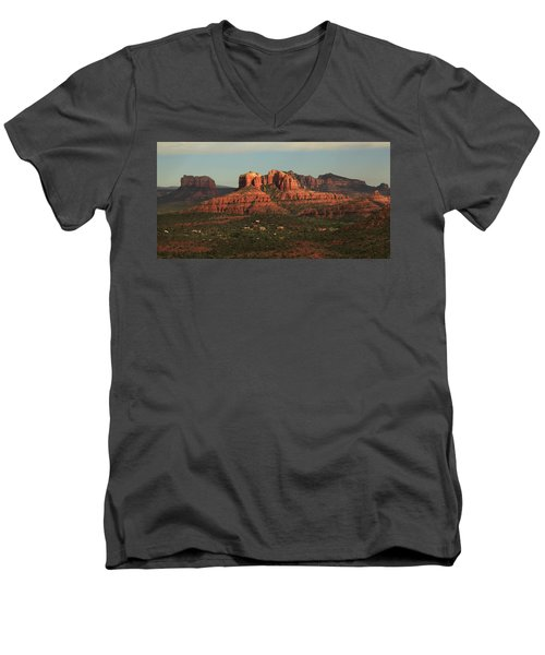 Men's V-Neck T-Shirt featuring the photograph Cathedral Rocks In Sedona by Alan Vance Ley