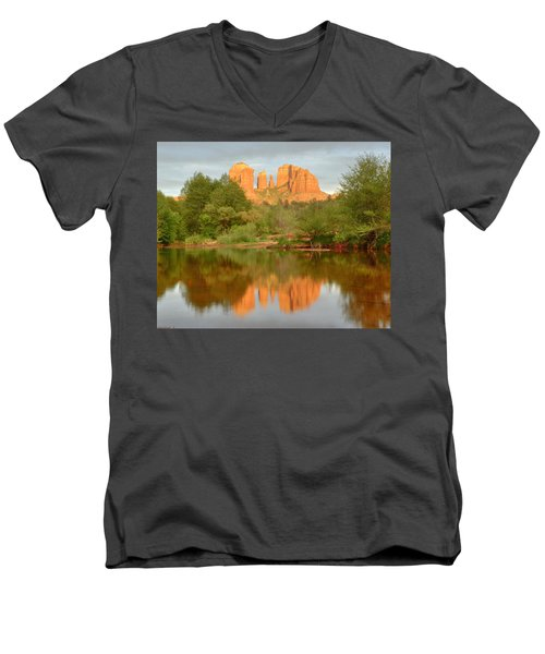 Men's V-Neck T-Shirt featuring the photograph Cathedral Rocks Reflection by Alan Vance Ley