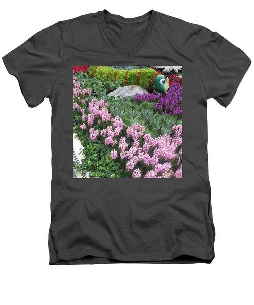 Men's V-Neck T-Shirt featuring the photograph Catterpillar Large Flower Garden Vegas by Navin Joshi