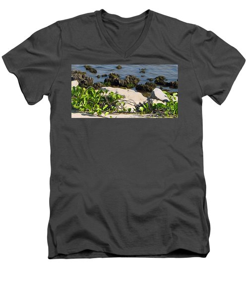 Men's V-Neck T-Shirt featuring the painting Causeway Shore Blues by Ecinja