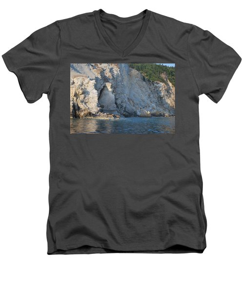 Men's V-Neck T-Shirt featuring the photograph Cave By The Sea by George Katechis