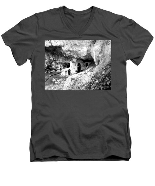 Men's V-Neck T-Shirt featuring the photograph cave church on Mt Olympus Greece by Nina Ficur Feenan