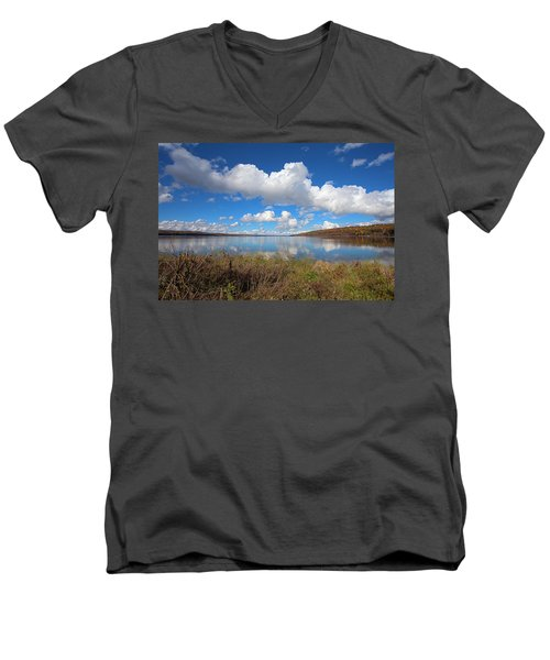 Men's V-Neck T-Shirt featuring the photograph Cayuga Lake In Colorful Fall Ithaca New York II by Paul Ge