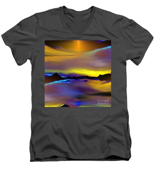 Men's V-Neck T-Shirt featuring the painting Cebu Sunset by Yul Olaivar