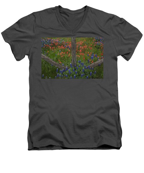 Cedar Fence In Llano Texas Men's V-Neck T-Shirt