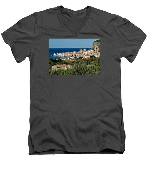 Cefalu Sicily Men's V-Neck T-Shirt by Alan Toepfer