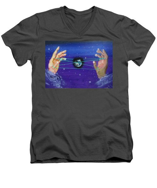 Men's V-Neck T-Shirt featuring the painting Celestial Cats Cradle by Thomas J Herring