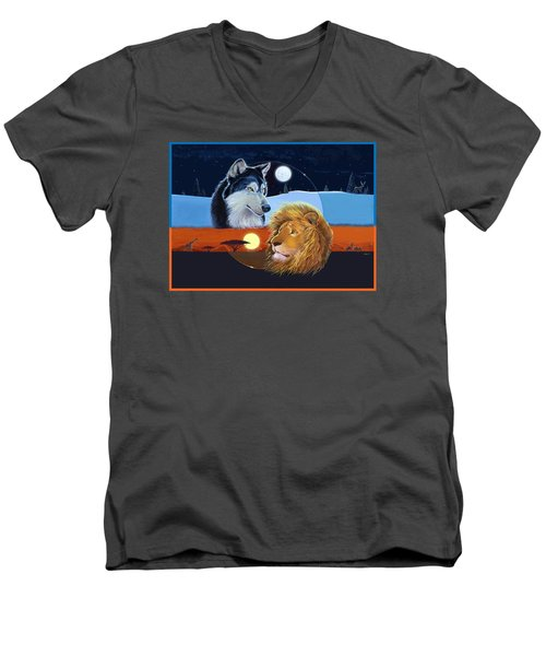 Men's V-Neck T-Shirt featuring the mixed media Celestial Kings by J L Meadows