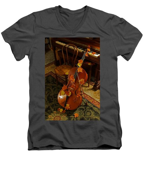 Cello Autumn 1 Men's V-Neck T-Shirt by Mick Anderson
