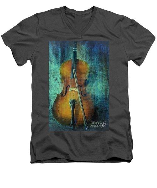 Cello  Men's V-Neck T-Shirt by Erika Weber